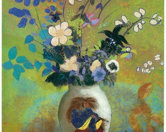 Hand-cut wooden jigsaw puzzle. FLOWERS JAPANESE VASE. Redon. Impressionist. Impressionism. Wood, collectible. Bella Puzzles.
