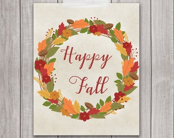 Fall Wreath - 8x10 Autumn Wall Decor, Fall Wall Art, Autumn Wreath, Home Decor, Happy Fall, Printable Art, Fall Printables