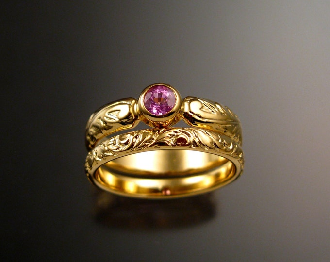 Pink Sapphire diamond substitute Victorian floral band 14k Yellow Gold Wedding set Engagement rings made to order in your size