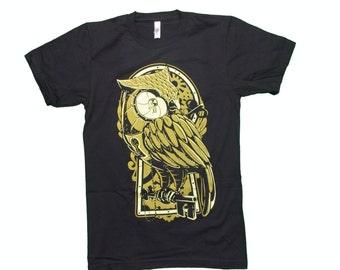 Huzzy's Handmade Owl Tshirt, Clockwork Owl T Shirt American Apparel, Unisex Owl Tshirt