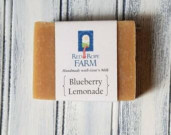 Sample of Blueberry Lemonade Goat's Milk Soap, Cold Process, Extra-Moisturizing, 1 bar