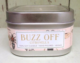 Buzz Off Citronella Soy Candle 8 oz. - Green Daffodil - Handpoured -Anne and Siouxsan