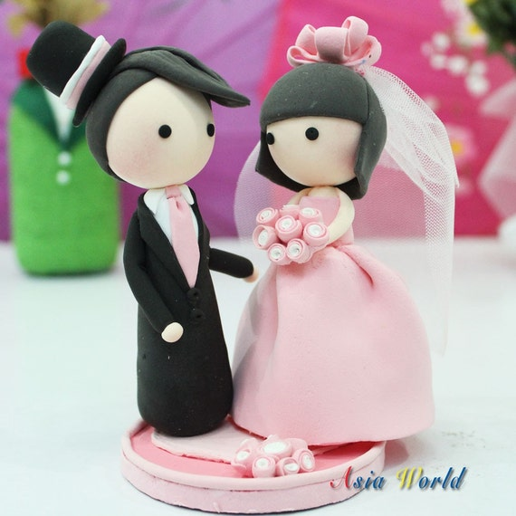 couple wedding cake items similar to wedding cake topper pink clay 13016