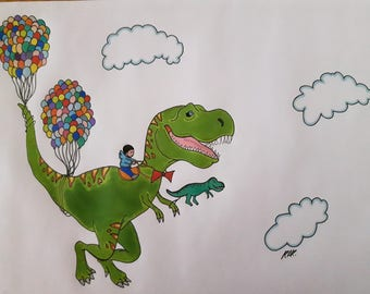 Flying T-Rex A4 print