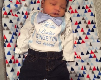 Baby Boy Newborn coming home outfit, Bow Tie and suspenders , Bodysuit for baby or t-shirt for toddler, saying of your choice