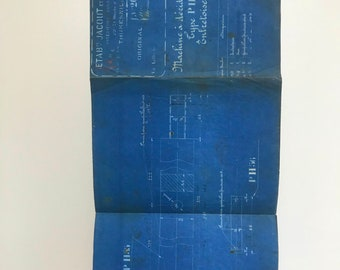 French industrial engineering blueprint, no. 2059 circa 1930s. Wonderful dark teal colour. Size: 520 x 290 mm.