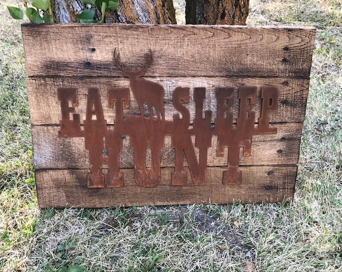 Eat Sleep HUNT, Elk, Hunting Decor, Rustic Farmhouse style Decor,  Wildlife, Country Style, Fixer Upper, Mancave Wall Art, Woodland Nursery