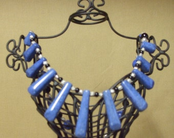 Blue Howlite Drops, Black Jade and Silver Filigree Beaded Necklace