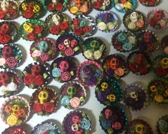 Day of the Dead Skull Magnets!  Strong Magnet, Day of the Dead Skull Magnet, Dia De Los Muertos - Set of 2