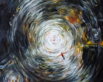 Original Art - Freefall - Acrylic Painting - Mixed Media Artwork