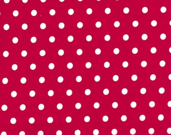 """Polka Dots RED 100% Cotton Poplin ~ 44"""" Wide ~ Sold by the Yard"""