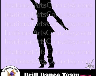 Drill Dance Team Silhouettes Pose 20 - 1 EPS & SVG Vinyl Ready files and 1 PNG digital file and Small Commercial License