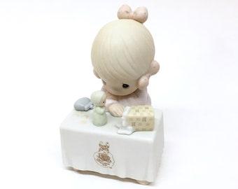 "PRECIOUS MOMENTS ""My Happiness"" is a Vintage 1989 Fine Velvet-Finish Porcelain ENESCO Precious Moments Collectors Club Figurine- item #C0010"