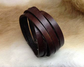 Lady's Brown Leather Wrap Bracelet/cuff, Mens leather wrap bracelet, Boho bracelet, gift for her, personalized