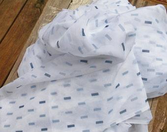 Fabric sheer silky nylon white slate grey and light grey geometric design large material supply 58 x 170