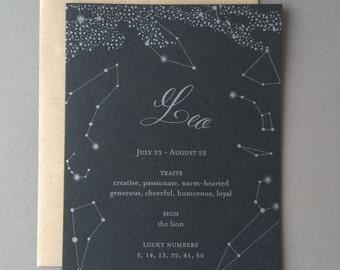 Leo Birthday Card, letterpress, zodiac