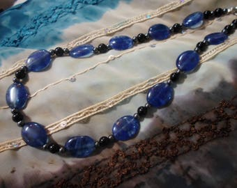 Blue black necklace and its Hematite