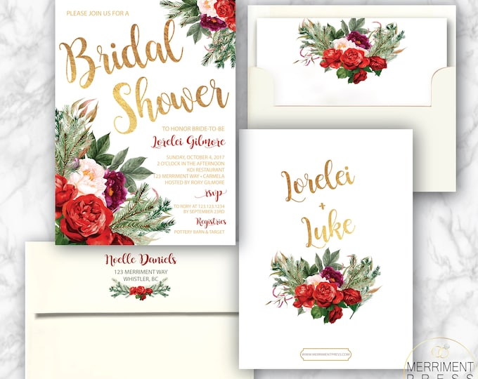 Holiday Bridal Shower Invitation // Christmas Bridal Shower // Winter Bridal Shower // Red // Green // Gold Foil // WHISTLER COLLECTION