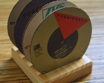 4 vintage foreigner vinyl record label drink coasters with wooden base