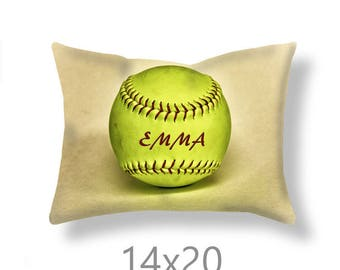 Softball Pillow Cover-Personalized Pillow Cover-Couch Pillow Cover-Sports Decor-Linen Pillow Cover-Suede Pillow Cover-Softball Pillow Case