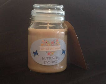 Large Hand Poured Soy Candle - Salted Caramel Scent
