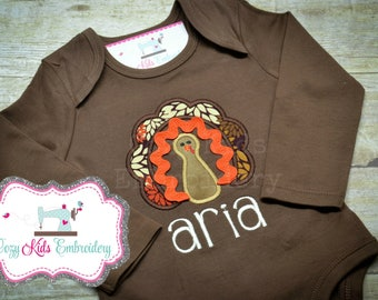 Thanksgiving turkey fall shirt girl kid child toddler infant baby custom personalized mongram embroidered applique name