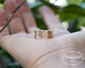 Floral ring, floral jewelry, flower ring, flower jewellery, brass ring, rose-colored brass, handmade ring, made in Italy, anniversary gift