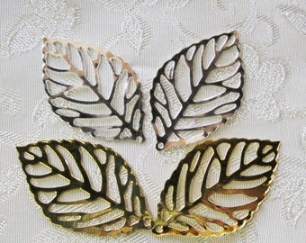 Overstock SALE Leaf Filigree Mix You Choose Finish Gold or Bright Silver 35mm x 20mm 540