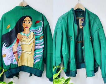Bomberjacket handpainted Pocahontas green oversized