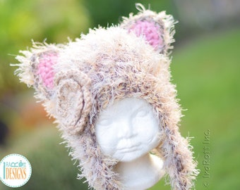 Soft Furry Kitty Cat Hat With Flower READY to SHIP for Toddler-Preschool Size