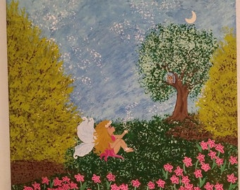 Fairy Owl Flowers 16 X 20 Acrylic paint Stretched Canvas