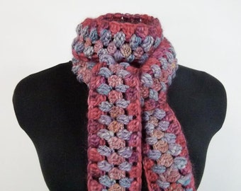 Long Skinny Boho Scarf Crocheted in Handspun Yarn: Coral & Lavender - Item 1087b