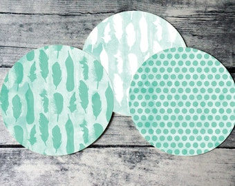 Printable round tags or cupcake toppers  - Mint Feather and Dots Digital Circle Collage Sheet