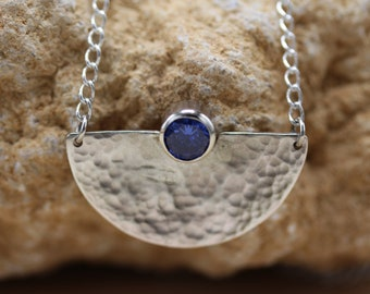 Sterling Silver Hammered Half Circle Sapphire CZ Necklace