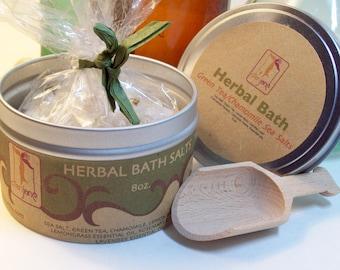 Herbal  Natural Bath Salts with Green Tea,Comfrey Leaf, Lemongrass Essential oil, Chamomile-Natural skincare