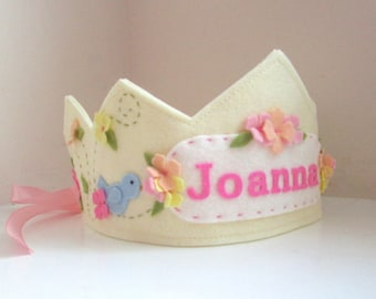 Felt Crown with Bird, Birthday Crown,  Personalized Crown, First Birthday, Photo Prop, Smash Cake