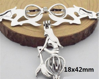 1 pc Pearl Cage Silver Plated Charm Necklace  pendant  Pick A Pearl or Wish Pearl  Locket