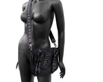 ROGUE - Black Leather and Gunmetal Studded Punk Messenger Bag