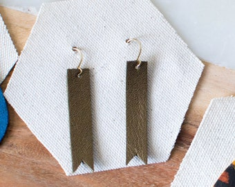 Bronze Leather Bar Earrings