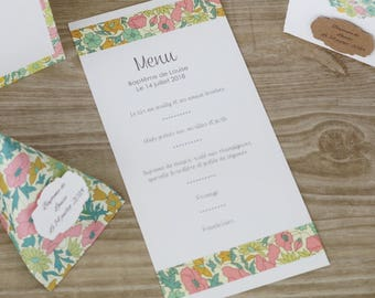 Menu liberty table  mariage - baptême - fait main fleurs