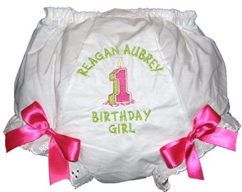 Personalized Hot Pink & Lime 1st, 2nd, 3rd, 4th Birthday Baby Girl  Bloomers, Diaper Cover