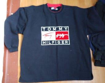 TOMMY HILFIGER sweatshirt vintage blue shirt, 90s hip-hop clothing, 1990s hip hop shirt, Tommy big logo gangsta rap, sewn big logo, size XL