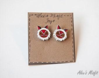 Princess Mononoke Inspired Mask Earrings
