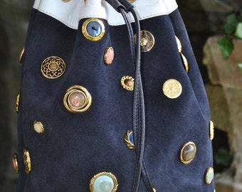 Jewel buttons and leather bucket bag-italian leather bucket bag