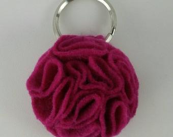 Fuchsia Ruffled Felt Flower Keychain Key Chain Gift Handmade Gift Felt Flower Keyring Under 10 dollars Sweet 16 Flower Gift Floral Key Ring