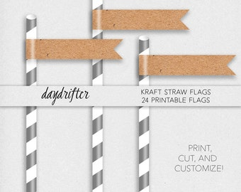"""Customizable Blank Kraft Straw Flags Cupcake Toppers Template -- DIY Instant Download 8.5"""" x 11"""" Paper"""
