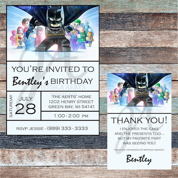 Lego Batman Personalized Birthday Invitation And Thank You