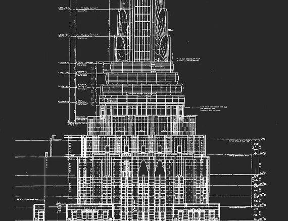 Empire state building blueprints architecture plans empire state building blueprints architecture plans elevations nyc architecture chrysler elevations wall decor wall art architect malvernweather Image collections