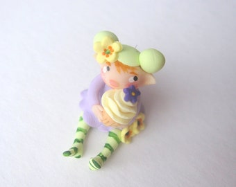 Fairy figurine birthday girl cupcake miniature doll