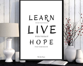 Albert Einstein quote, Inspirational quote poster, Learn live hope, Modern design, Home wall art decor, Inspirational art, Quote print